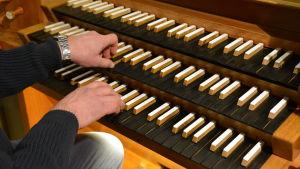 Närbild av händer som spelar på en kyrkorgel.