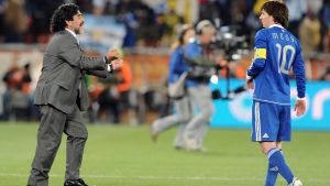Diego Maradona och Lionel Messi