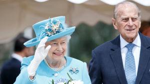 Prins Philip och prinsessan Elizabeth i Skottland år 2016. Året efter drog han sig tillbaka från de offentliga plikterna.