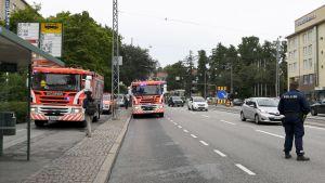 Flera personer fick symptom i luftvägarna på grund av en gasläcka i Brunakärr i Helsingfors den 17 augusti 2017-