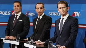 Heinz-Christian Strache, Christian Kern,  Sebastian Kurz
