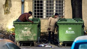 Romer letar skräp i Skopje.