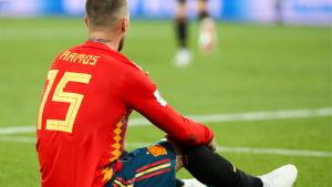 Sergio Ramos var Spaniens otursgubbe mot Marocko.