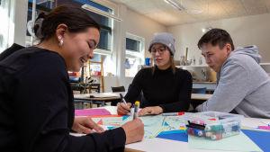Nuoret Grönlantilaiset ilmastoaktiivit Nick Thorleifsen, Kiki Godtfredsen ja Sascha Blidorf
