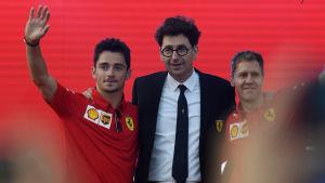 Charles Leclerc, Mattia Binotto och Sebastian Vettel.