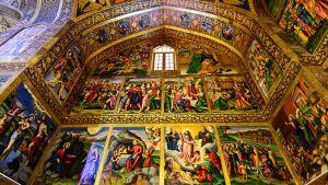 Freskon i den armeniska katedralen Vank i Iran.