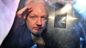 Julian Assange 1.5.2019 i ett bilfönster under en transport till fängelset