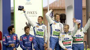 Marcus Grönholm vann för sjätte gången i Jyväskylä år 2006 före Sebastien Loeb och Mikko Hirvonen.