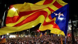 Katalanska flaggan svajar i förgrunden. I bakgrunden ser man ett folkhav.