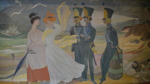 Kadetter och mamseller i Tove Janssons väggmålning.