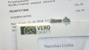 Brevet där skatteåterbäringen framgår.