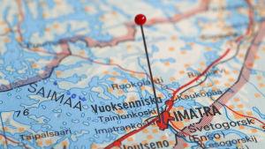 Imatra visat på en karta med en knappnål.