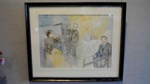 Akvarell med tre personer i en ateljé.