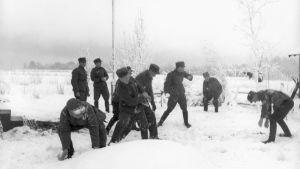 Soldater kastar snöboll, 1940