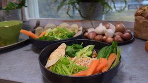 Två portioner med Strömsös nordiska bowl på ett bord