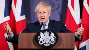 Boris Johnson under en presskonferens efter att EU och Storbritannien kommit överens om ett brexitavtal den 24 december 2020.