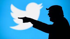 I bakgrunden syns Twitters logo – en vit fågel med ljusblå bakgrund. I förgrunden syns en siluett av Donald Trump som pekar åt sidan.
