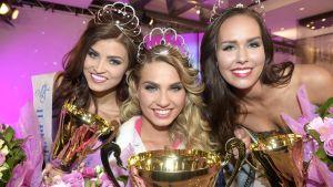 carola miller, roosa-mari ryyti, saara ahlberg som tävlade i miss finland 2015.