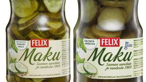 Kaksi Felix-kurkkupurkkia
