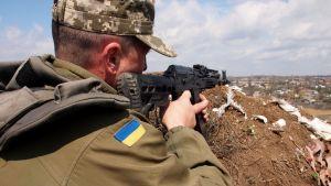 ukrainan armeijan joukot asemissa Shirokinen kylässä