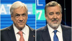 De chilenska presidentkandidaterna Sebastián Piñera (till vänster) och Alejandro Guillier som möts i en andra omgång den 17 december.