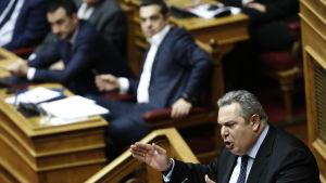 Panos Kammenos talade i parlamentet inför onsdagens förtroendeomsröstning.