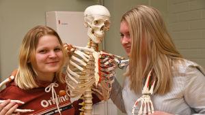 """Två elever från prakticum står och poserar tillsammans med skelettet """"Ben-jamin""""."""