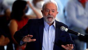 Lula da Silva talar i  Sao Bernardo do Campo 10.3.2021. Han sa sig ha blivit offer för den största juridiska lögnen på 500 år i Brasiliens historia.