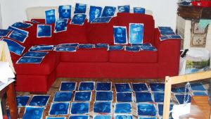 konstbild med blå porträtt på röd soffa