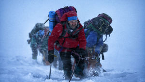 män som strävar mot toppen av Mount everest