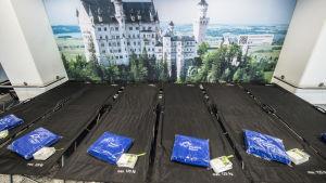 Bäddplatser på flygplatsen i Frankfurt inför en strejk som inhiberar flyg..