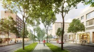 På Tavastgatan planeras en allé med cykelväg.