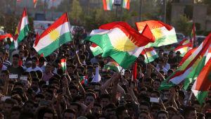 Demonstration till stöd för folkomröstningen i Erbil 13.9.2017
