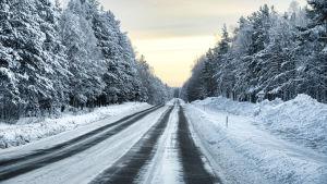 Bilväg på vintern.