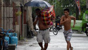 Förberedelser inför Mangkhut i Manila.