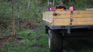 Traktor med släp står på skogsväg.