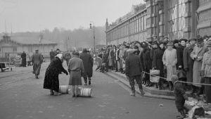 Ihmisiä jonottamassa silakkatynnyreitä Helsingin satamassa Vanhan kauppahallin luona vuonna 1941.