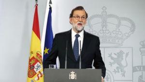 Spaniens premiärminister Mariano Rajoy tackade polisen under en presskonferens efter den katalanska förtroendeomröstningen.