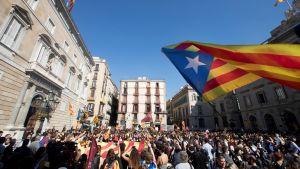 Pro-självständighetsmarsch i Barcelona.