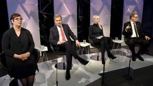 Kandidaterna Merja Kyllönen, Sauli Niinistö, Laura Huhtasaari och Matti Vanhanen.