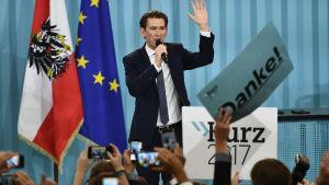 Sebastian Kurz tackar väljare efter förbundsdagsvalet i Österrike 2017.
