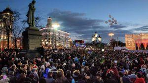 Tusentals demonstranter i Moskva 27.3.2018