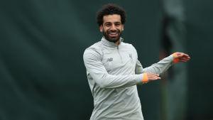 Mohamed Salah under ett träningspass.