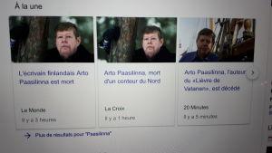 Franska medier skriver om Arto Paasilinnas död.
