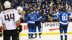 Winnipegspelarna firar Tyler Myers mål.