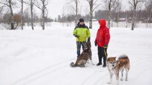 Kurt Aspö och Karin Nynäs-Aspö med hundarna Sisu och Raita i ett snöigt landskap