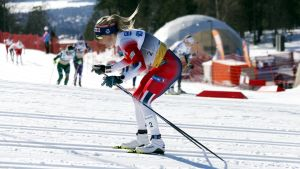 Therese Johaug åker under VM i Seefeld.