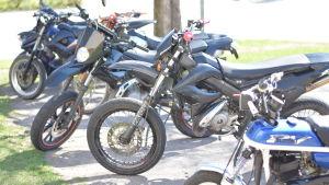 Mopeder parkerade i en rad.De råkar alla vara blå.