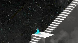 Piirroskuva: sininen ihmishahmo istuu pitkillä portailla avaruuden ympäröimänä ja katsoo tähdenlentoa.
