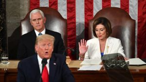 Trump, Mike Pence och Nancy Pelosi.